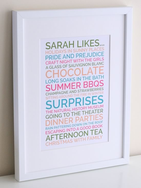 ... start thinking of ideas you'll find they come in a flood and pretty soon you'll have loads of ideas for what to write on your personalised likes poster