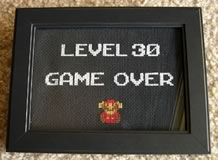 homemade 30th birthday gag gifts game over cross-stitch