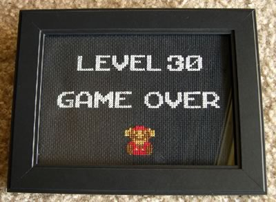 30th birthday gag gift level 30 game over cross stitch