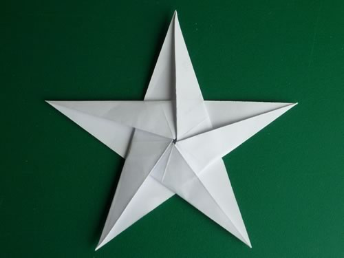 5 pointed origami star finished front