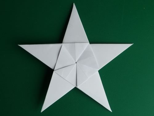 5 pointed origami star finished back