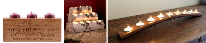 5 year anniversary gift wood candle holder