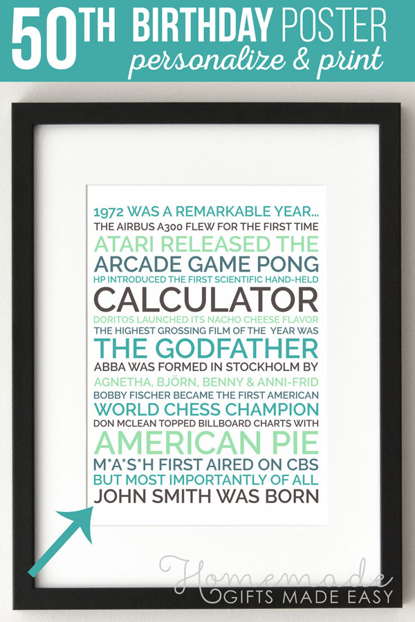 50th birthday ideas personalized poster