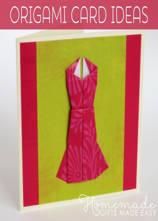 homemade origami dress card birthday card