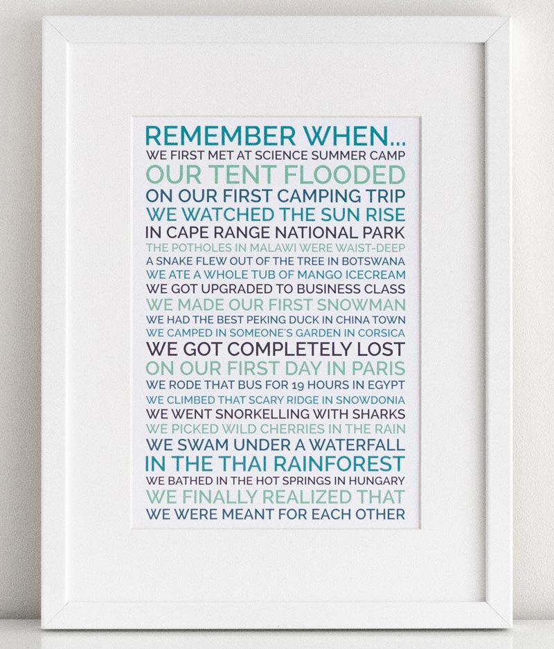 personalized remember when poster wedding anniversary gift