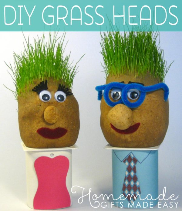 homemade birthday gag gift grass heads