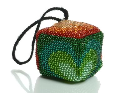 beaded christmas ornaments to make - orange and green design