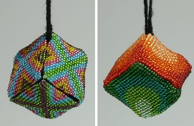 beaded christmas ornaments to make - finished, hanging side by side