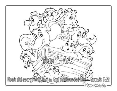Bible Coloring Pages Animals Noahs Ark Kids