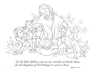 Bible Coloring Pages Childen With Jesus Mark 10 14
