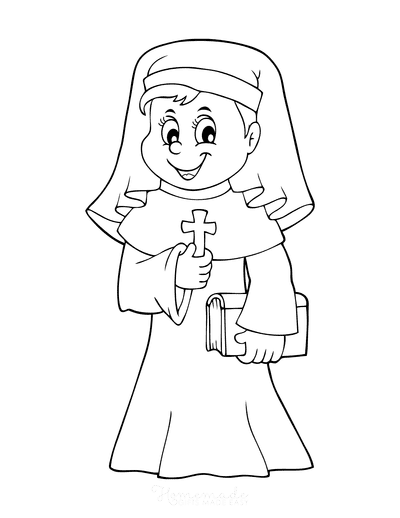 Bible Coloring Pages Christian Nun