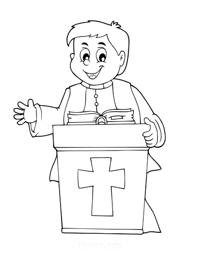 Bible Coloring Pages Christian Vicar Priest Preacher Minister