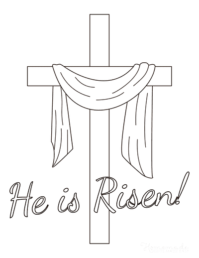 Bible Coloring Pages Cross Shroud He Is Risen