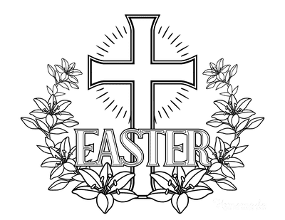 Bible Coloring Pages Easter Lilies Cross