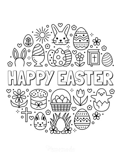 Bible Coloring Pages Happy Easter Icons