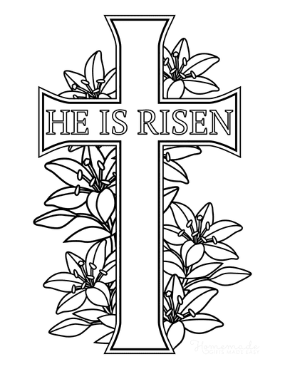 Bible Coloring Pages He Is Risen Lilies Cross