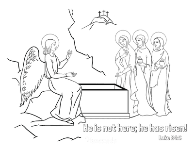 Bible Coloring Pages He Is Risen Tomb Luke 24 6