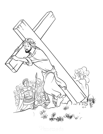 Bible Coloring Pages Jesus Carrying Cross Easter