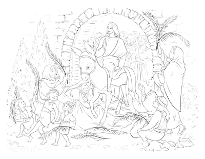 Bible Coloring Pages Jesus Donkey Palm Sunday