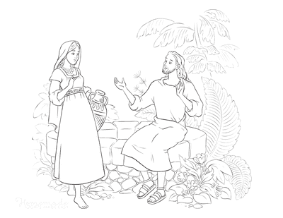 Bible Coloring Pages Jesus Samaritan Woman Well