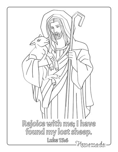 Bible Coloring Pages Jesus Shepherd Sheep Crook