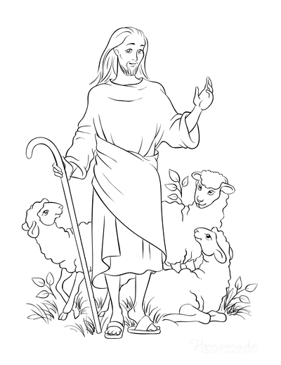 Bible Coloring Pages Jesus the Good Shepherd