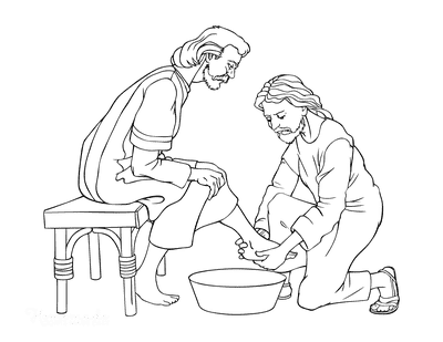 Bible Coloring Pages Jesus Washes Disciples Feet