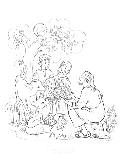 Bible Coloring Pages Jesus With Children Animals