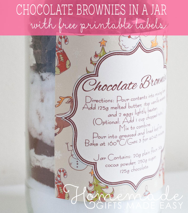 homemade brownies in a jar mix