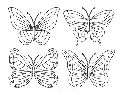 Butterfly Coloring Pages 4 Mini Butterflies Patterned Set 1