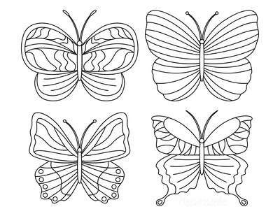 Butterfly Coloring Pages 4 Mini Butterflies Patterned Set 2