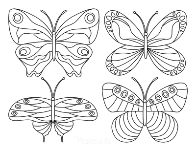 Butterfly Coloring Pages 4 Mini Butterflies Patterned Set 3