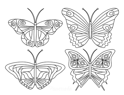 Butterfly Coloring Pages 4 Mini Butterflies Patterned Set 4