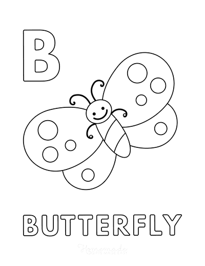 Butterfly Coloring Pages B for Butterfly Preschoolers
