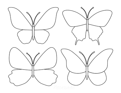 Butterfly Coloring Pages Blank Templates Set 1