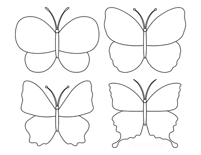 Butterfly Coloring Pages Blank Templates Set 2