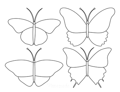 Butterfly Coloring Pages Blank Templates Set 3