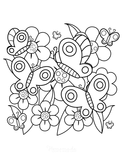 Butterfly Coloring Pages Butterflies in the Garden