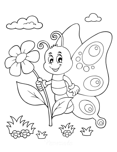 Butterfly Coloring Pages Cartoon Butterfly Holding Flower