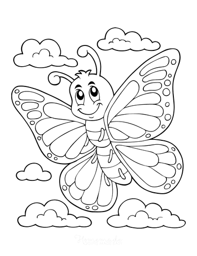 Butterfly Coloring Pages Cartoon Clouds