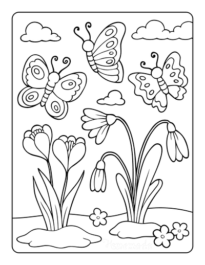 Butterfly Coloring Pages Cartoon Spring Flowers