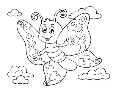 Butterfly Coloring Pages Cartoon Waving Cute