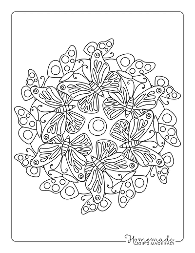 Butterfly Coloring Pages Circle of Butterflies