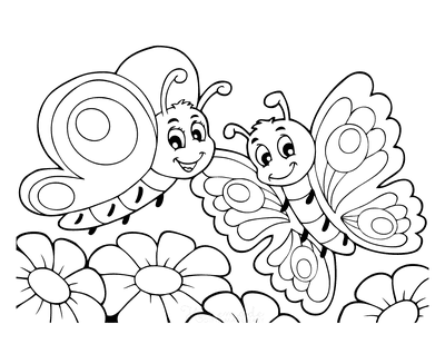 Butterfly Coloring Pages Cute Cartoon Butterflies Flowers