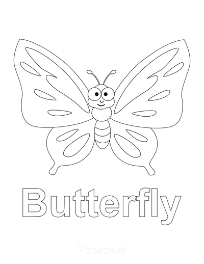 Butterfly Coloring Pages Cute Cartoon Preschool