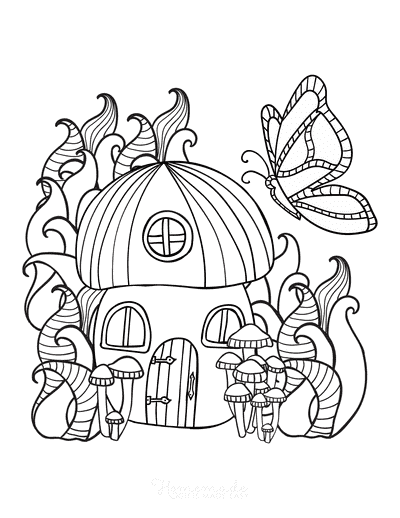 Butterfly Coloring Pages Fairy House
