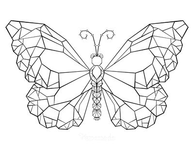 Butterfly Coloring Pages Geometric Pattern