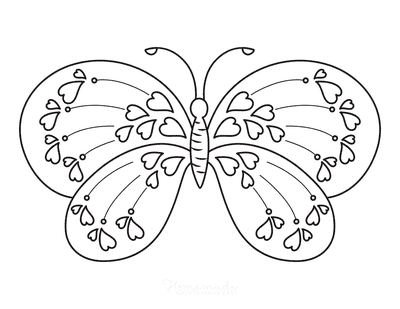 Butterfly Coloring Pages Hearts