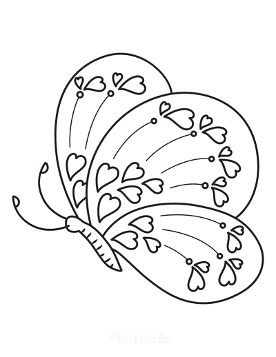 Butterfly Coloring Pages Hearts Side View