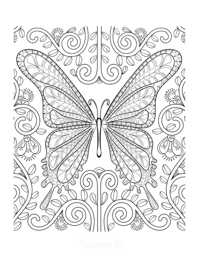 Butterfly Coloring Pages Intricate Butterfly Swirly for Adults